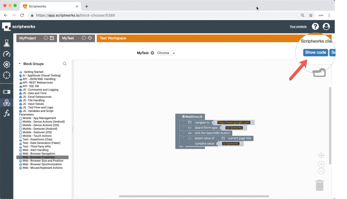 Viewing code, test execution and results   Scriptworks