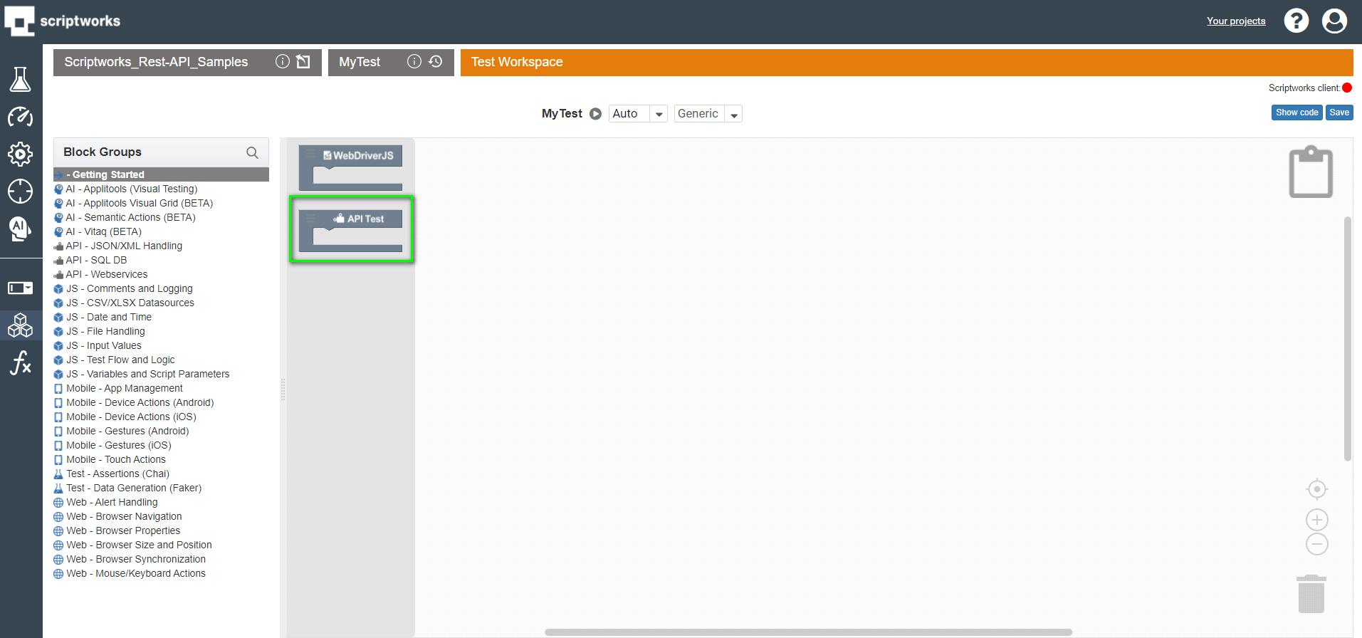 select api test block