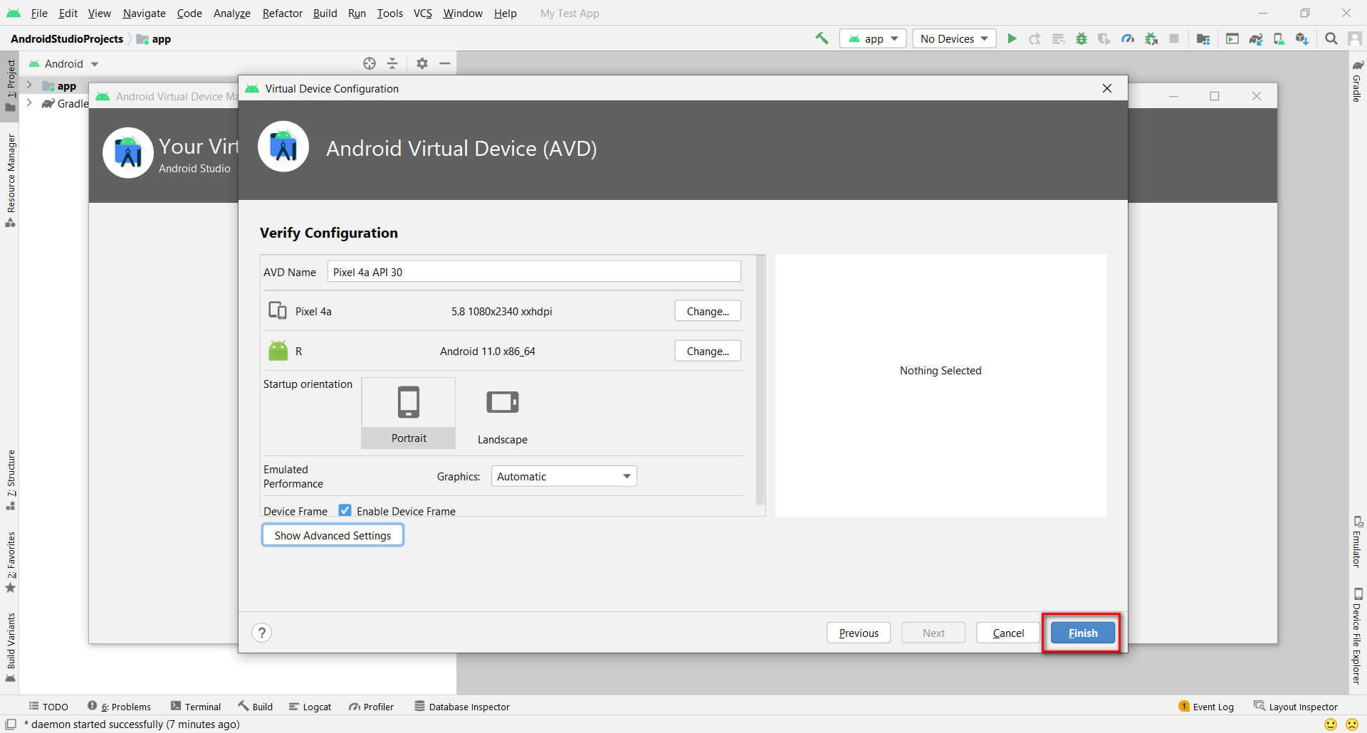 Click on Finish button on Android Virtual Device (AVD) Page