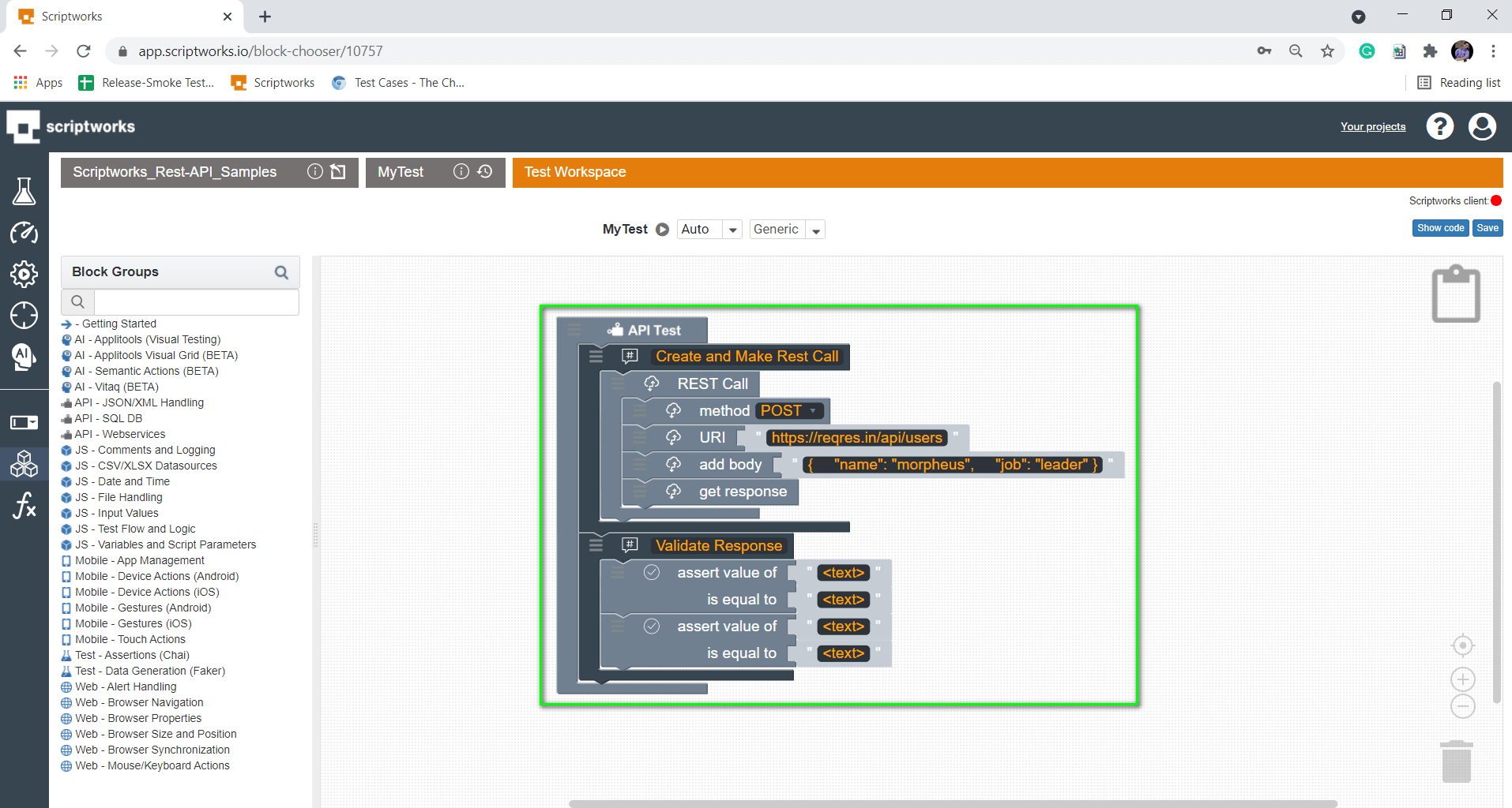 pull multiple assert block into the canvas