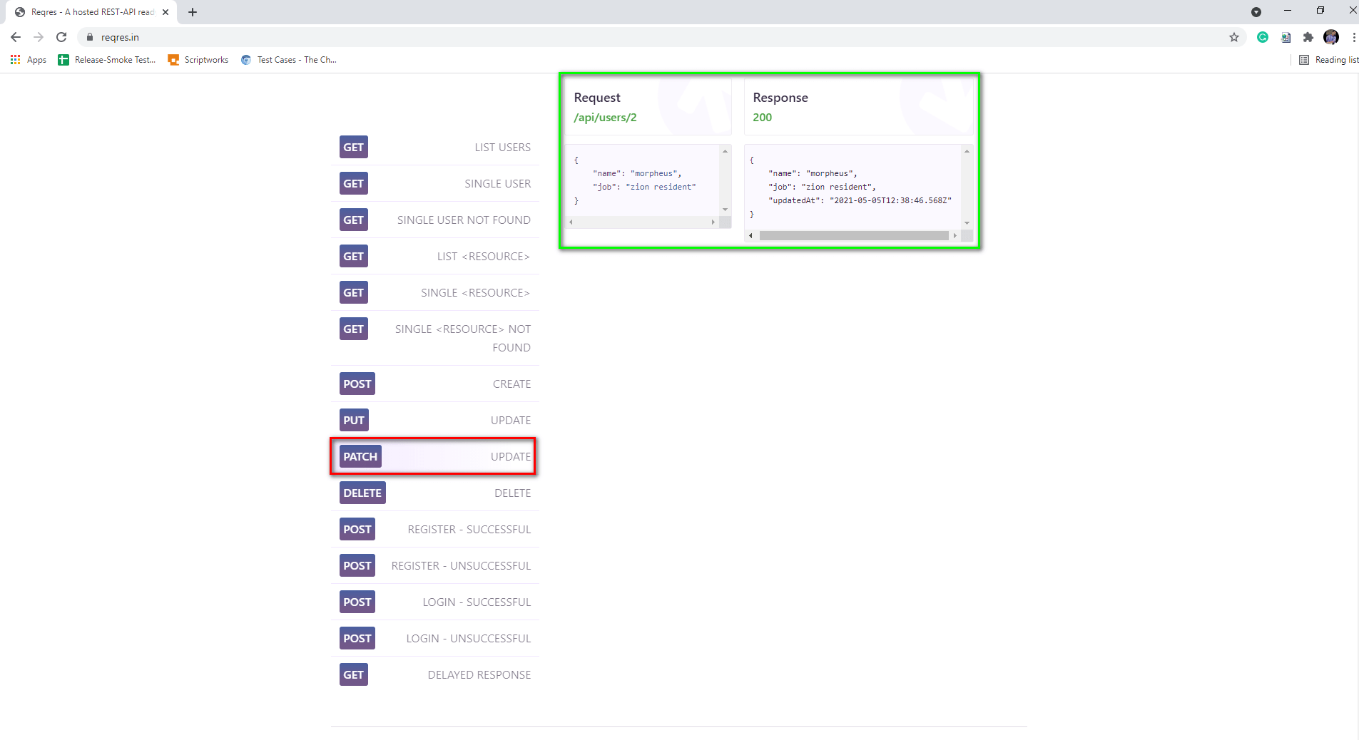 Patch request example on Reqres.in