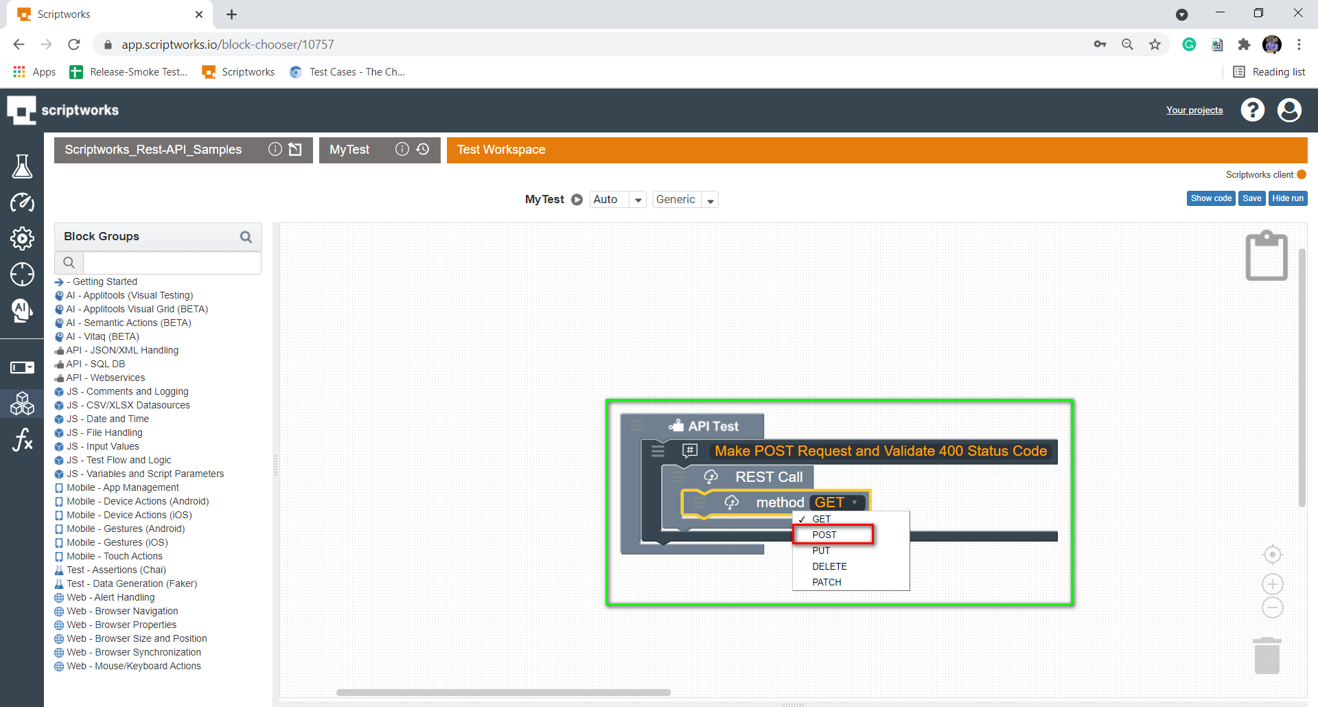 Select POST Method from the Dropdown