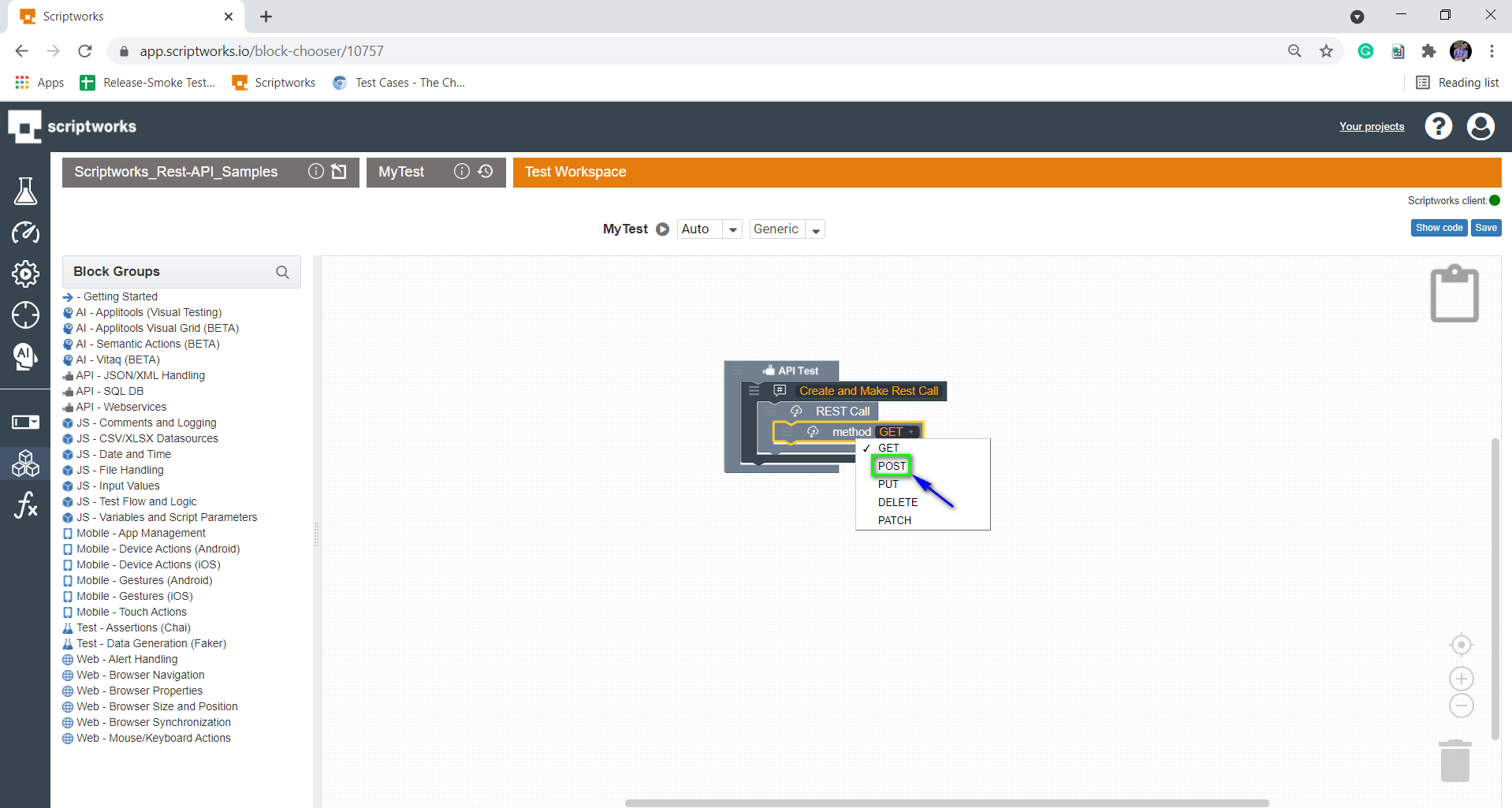 Select HTTP Verb POST from the Drop Down
