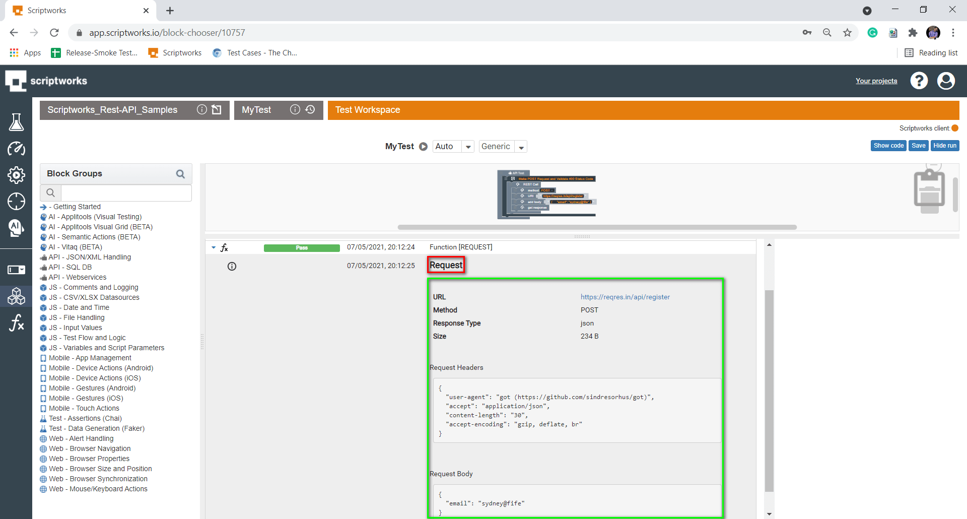 Request Details with Response Headers