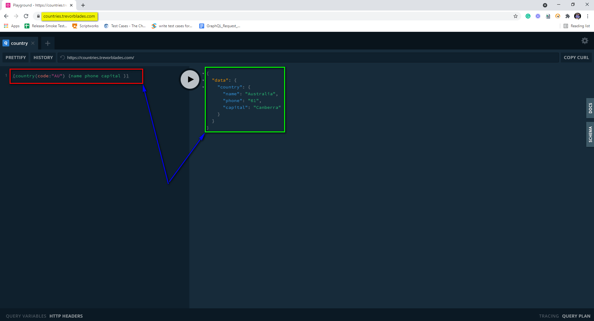 GraphQL Query result on right hand side