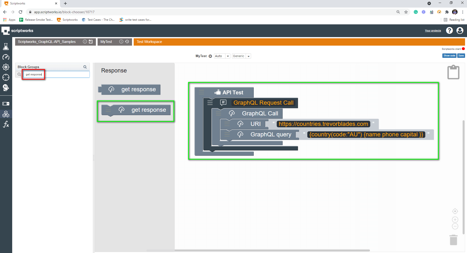 Get Response search made on left side panel