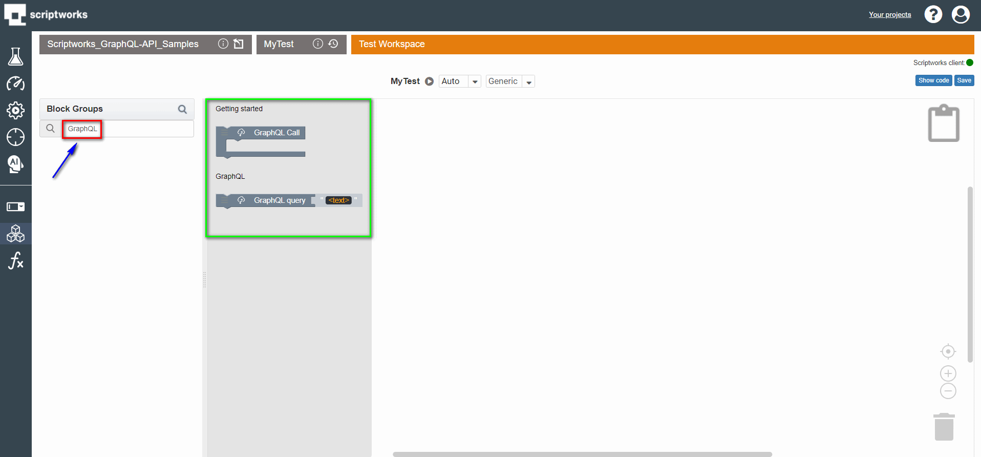 search graphql in search box