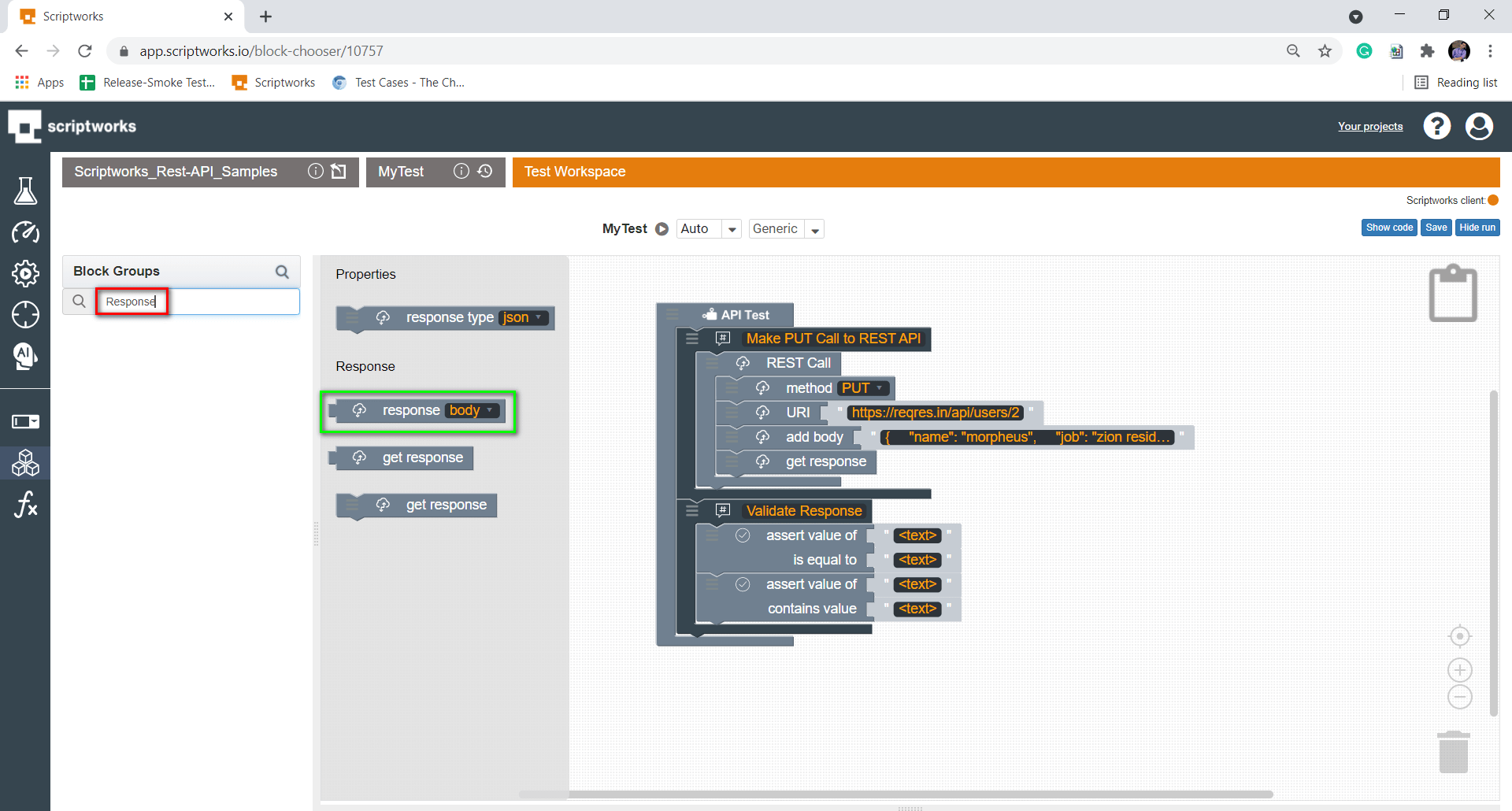 Searching Response block from search box present on left side panel