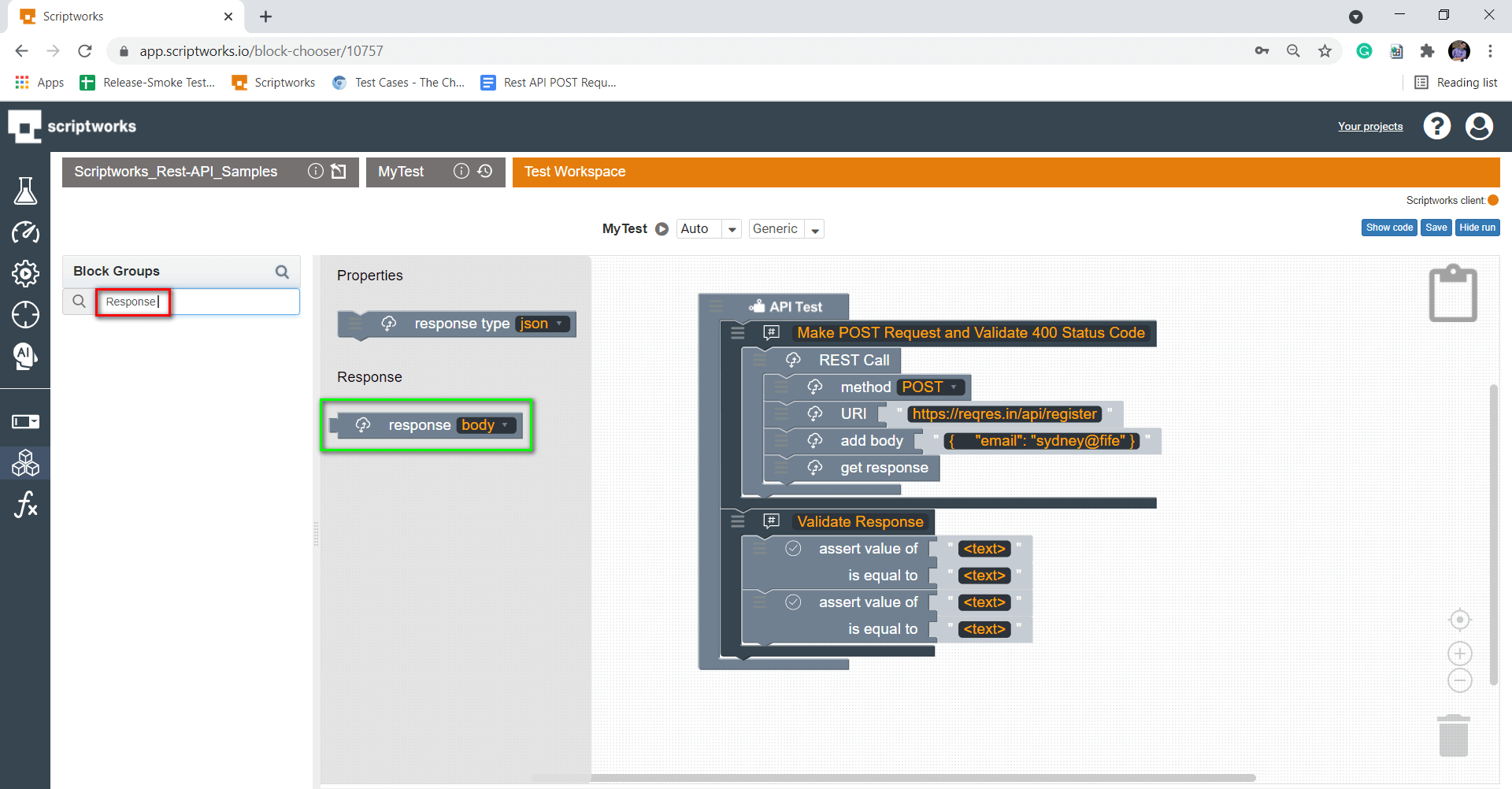 Search Response from left hand side panel
