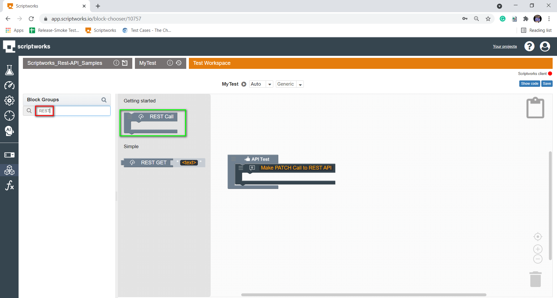 Search Rest Block from Search Box