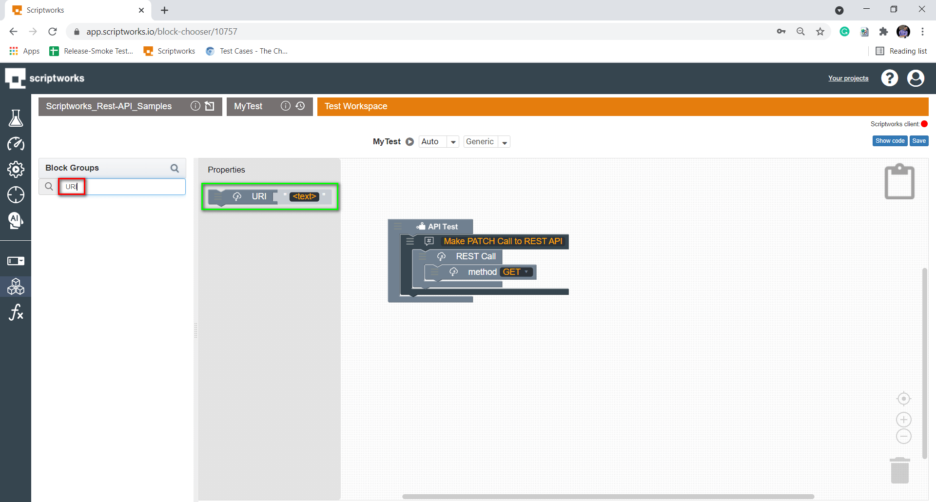 Search URI from Search Box present in left hand side panel