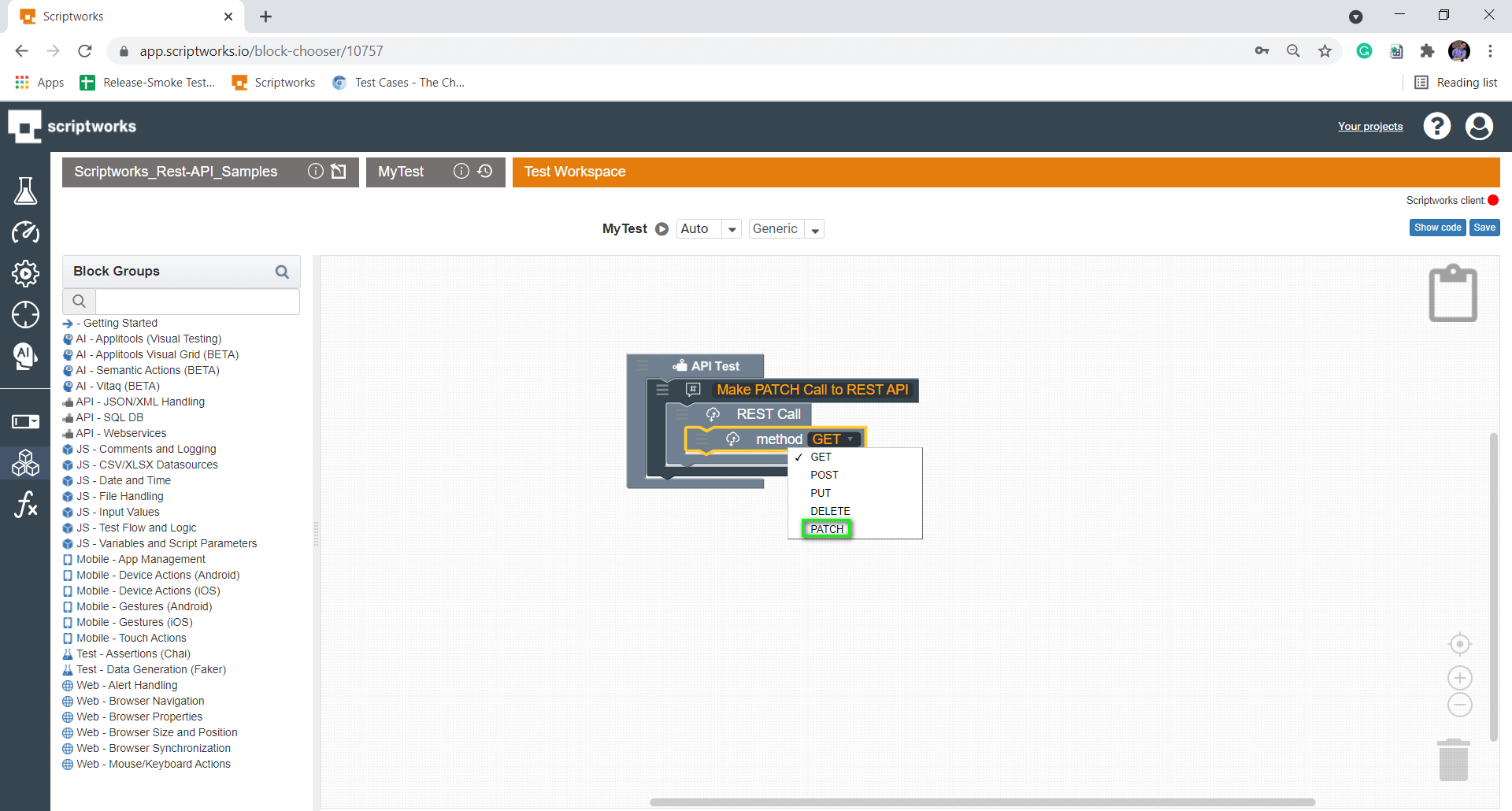 Select Patch Method from the Drop Down