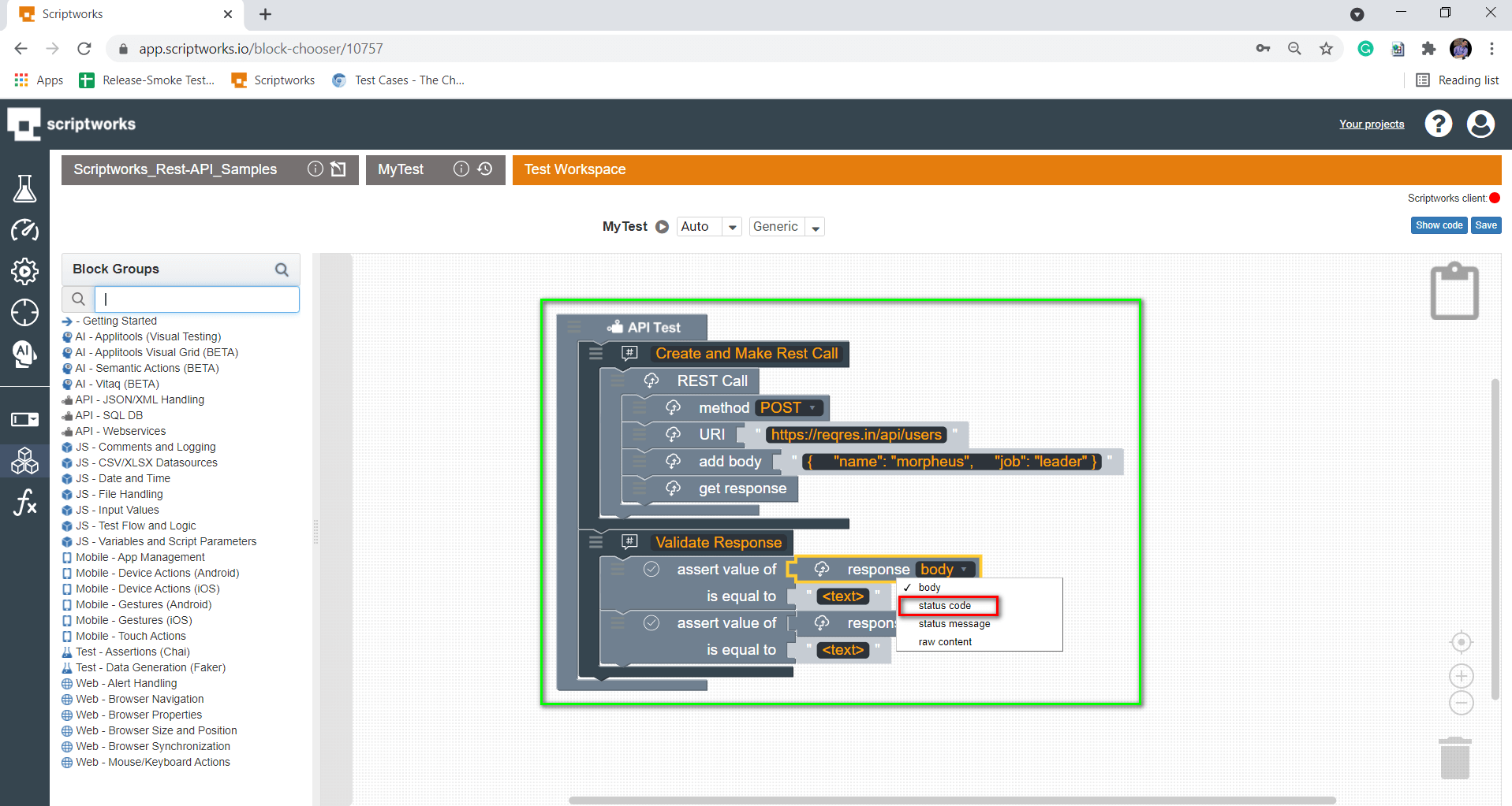select status code from the dropdown