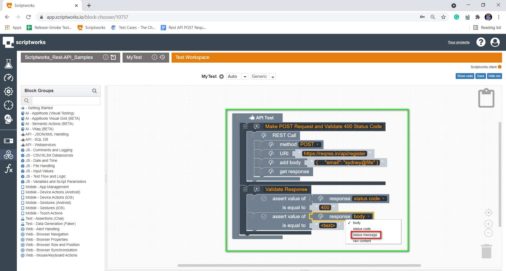 select status message from dropdown