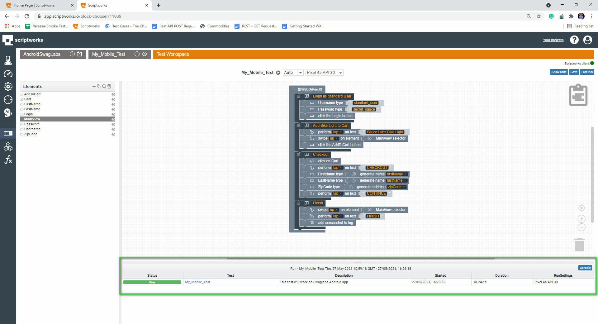 Screenshot of Test Pass