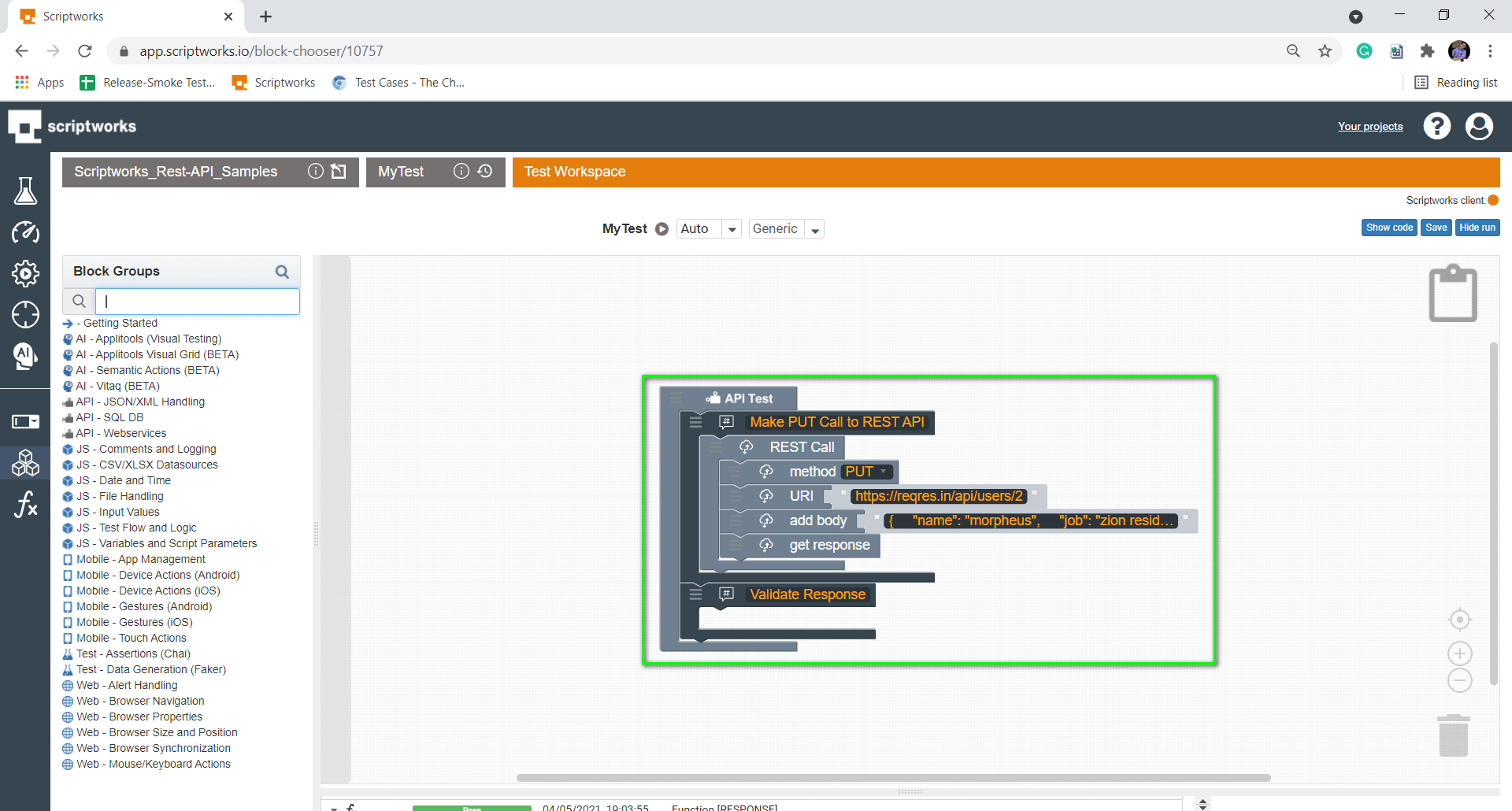 Put Validate Response comment block inside the Canvas