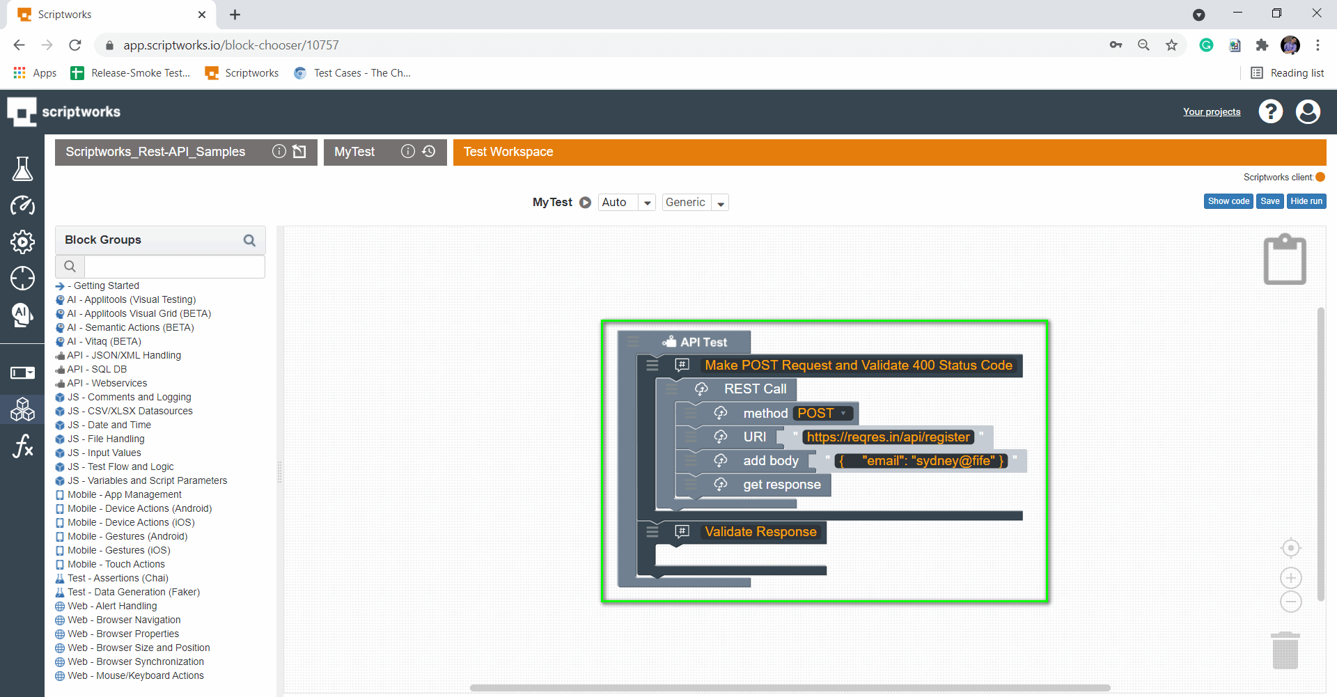 Pull Validate Response Comments from Left hand side panel