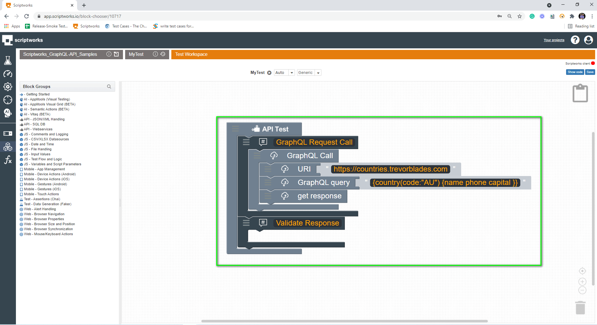 Put Validate Response as comment in Comment Block