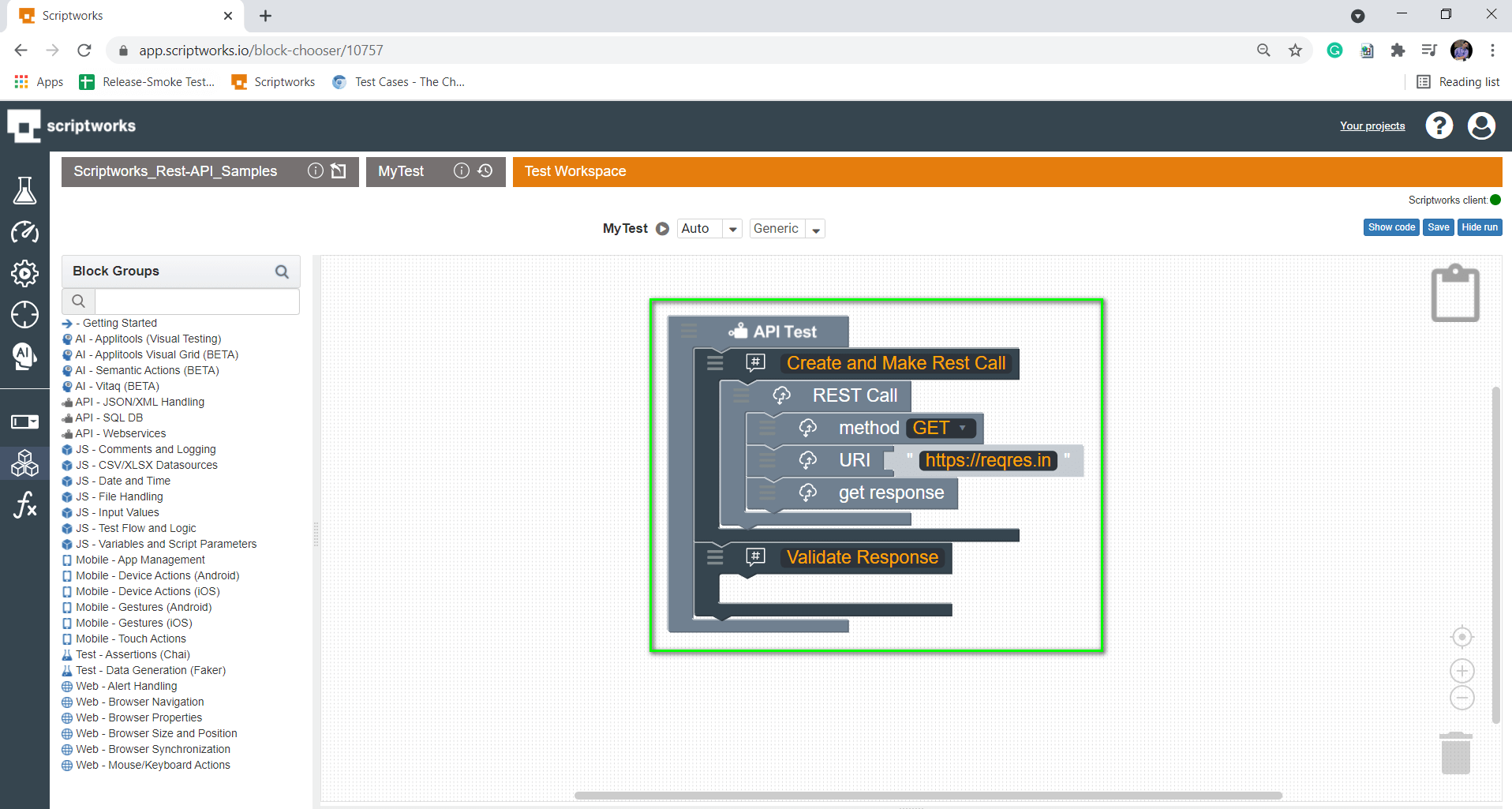 Put validate response inside the comments and in canvas