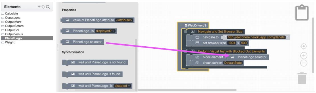 Visual Test Block Element Selector
