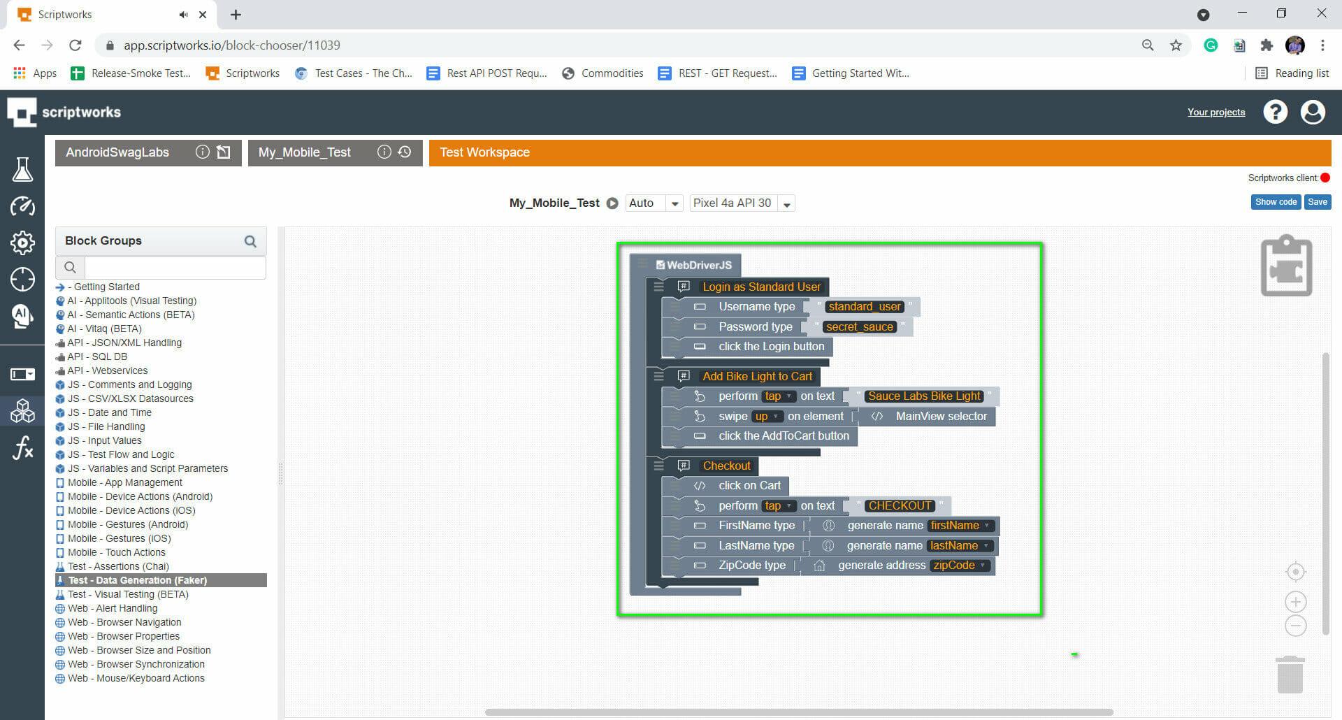Screenshot of all elements