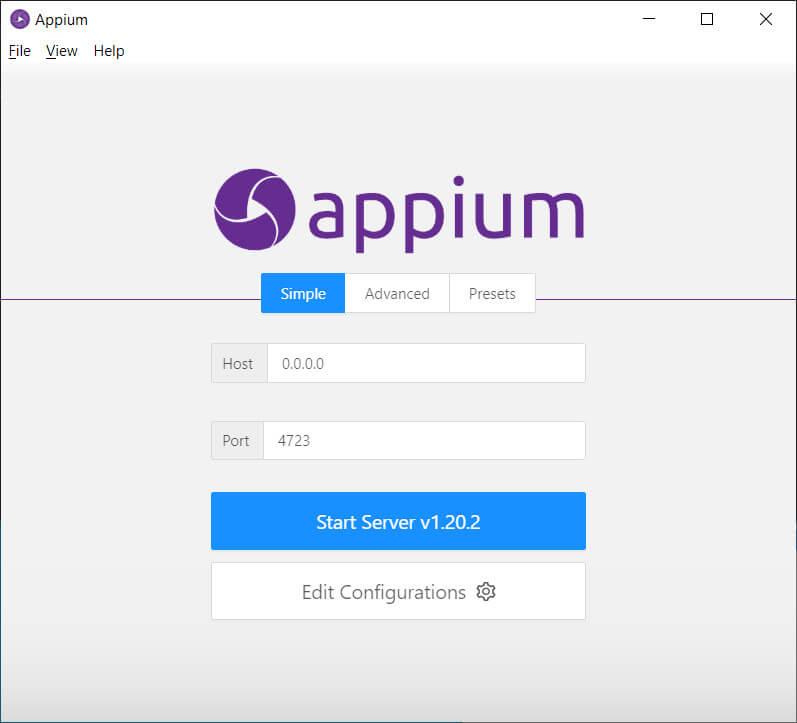 view appium server dialogue box