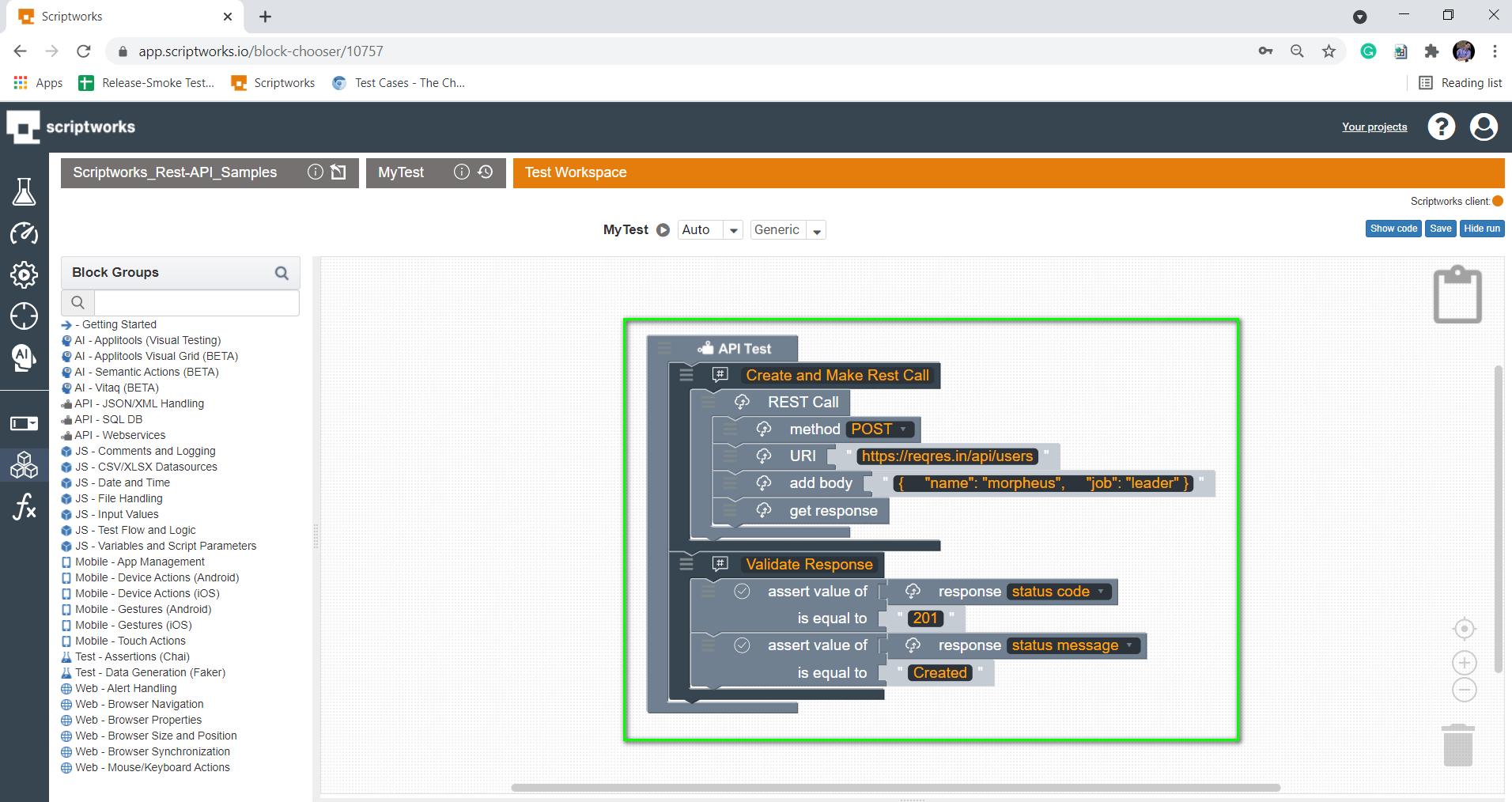 completed blocks inside the v
