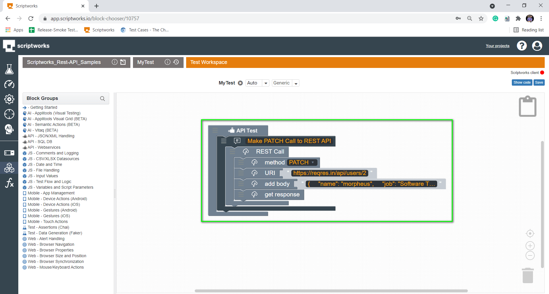 putting get response block inside the canvas