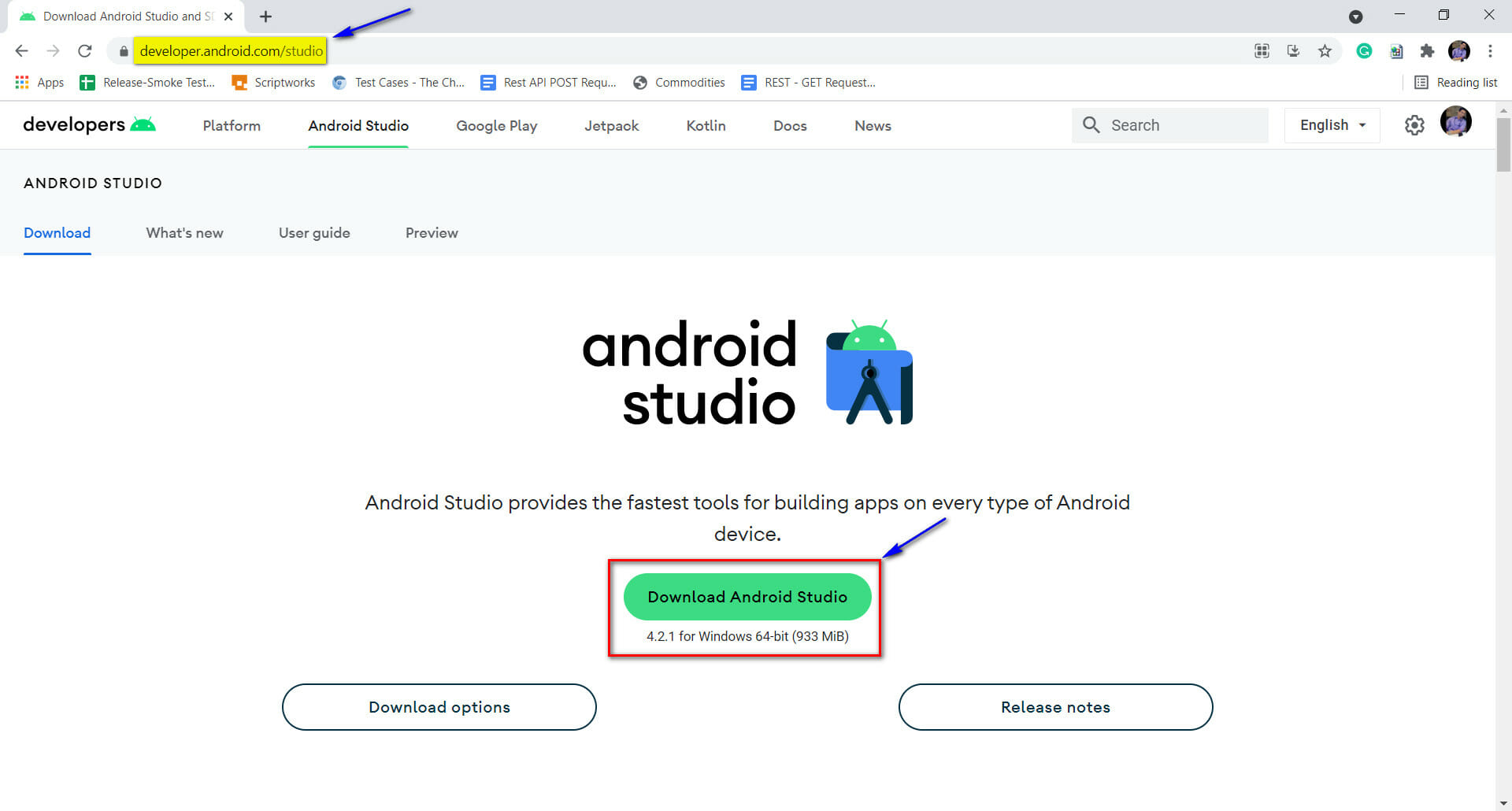 Navigate to Android Studio