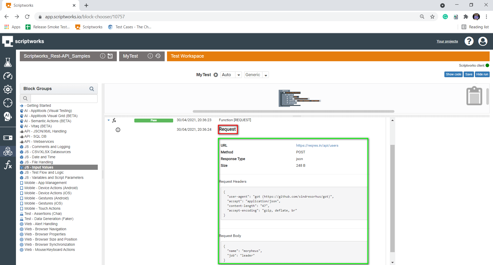 Request results with request headers