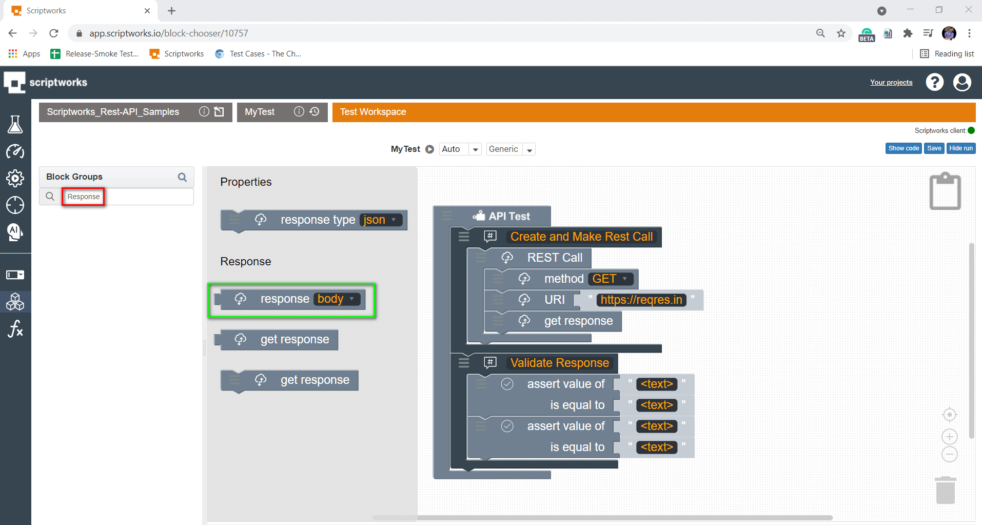 search response block from search box
