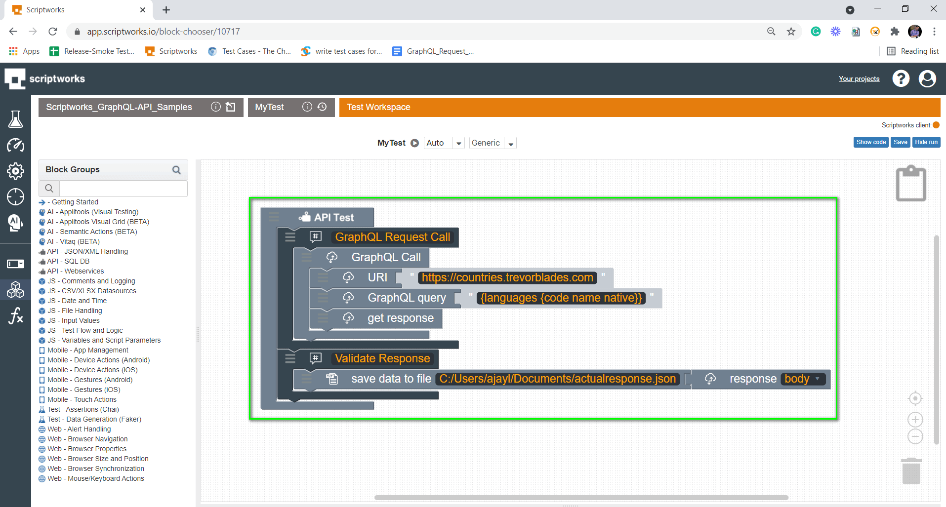 Search Save Data to file from left hand side panel