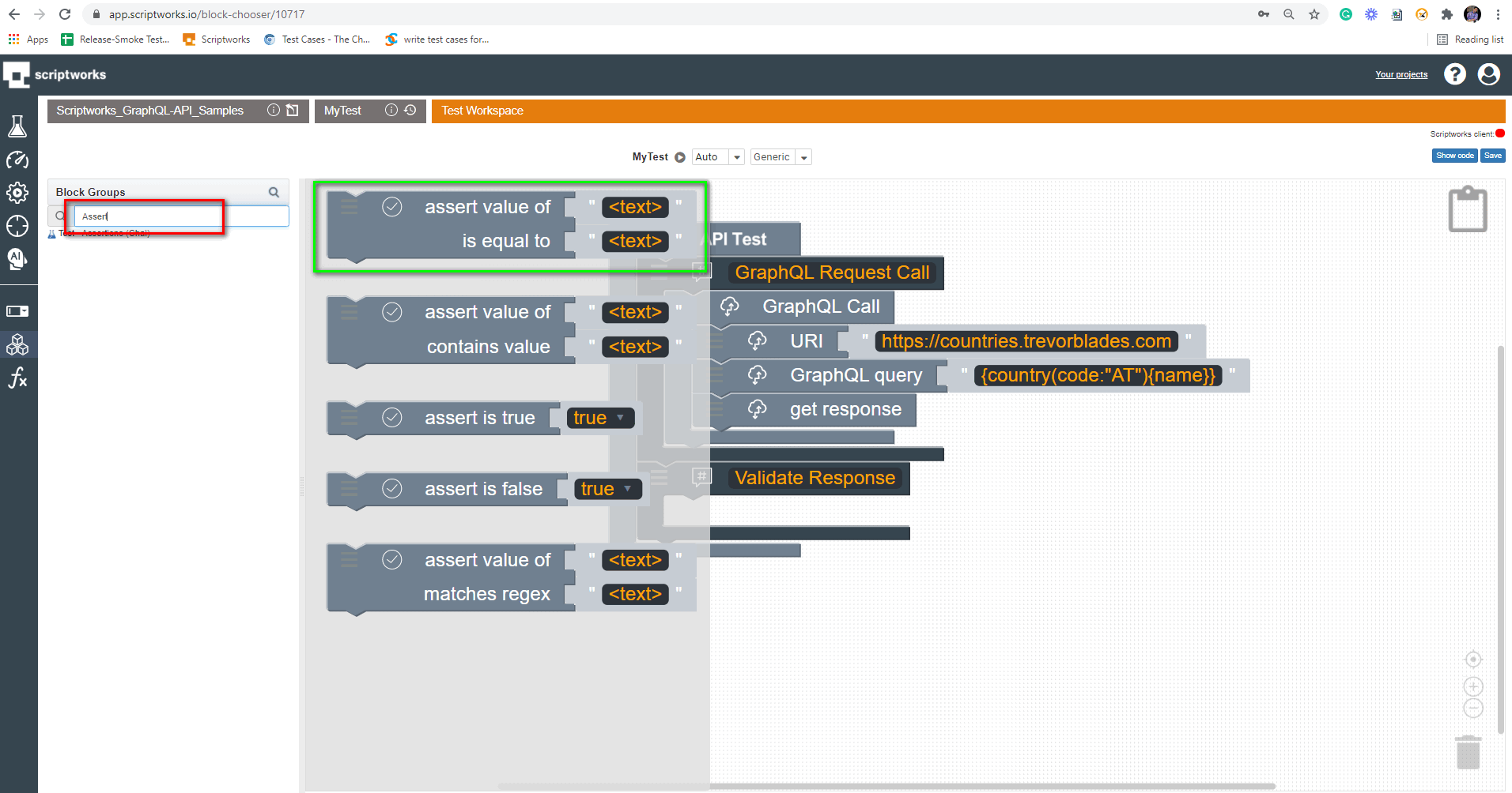 Assert Search in left panel