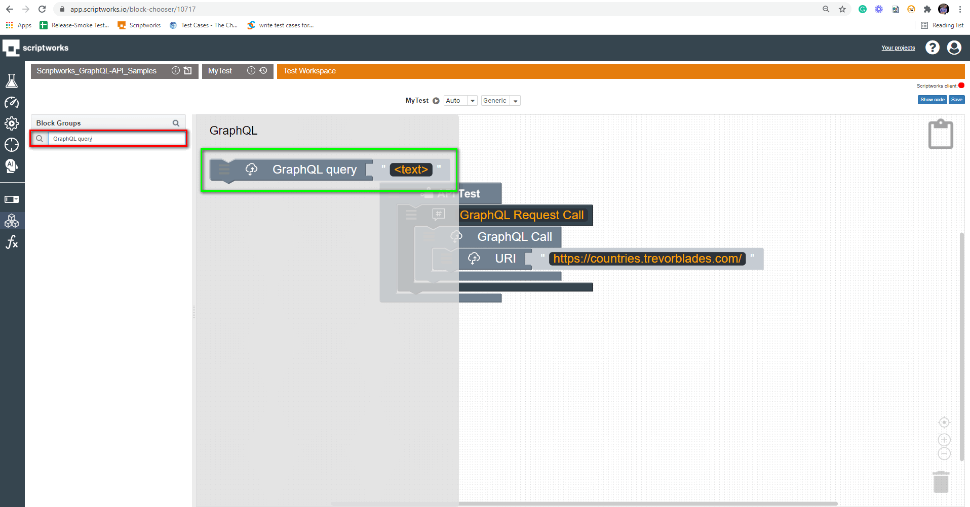 Search Graph QL Query on the left hand side panel