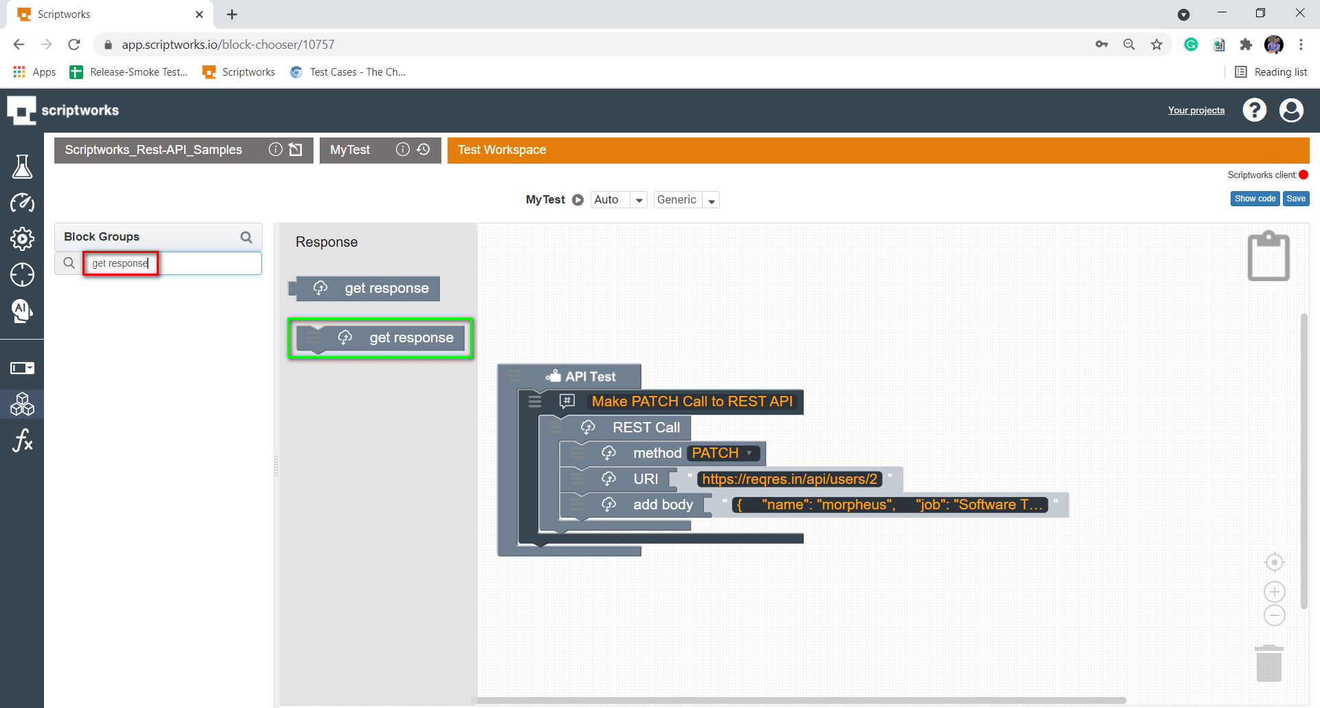 Search get Response from Search Box from left hand side panel
