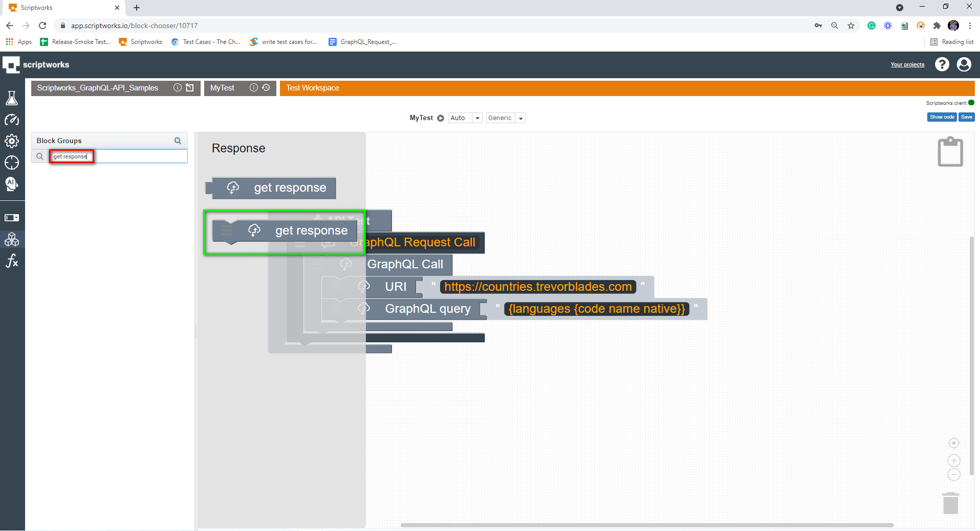 Search for Get Response from Left hand side panel