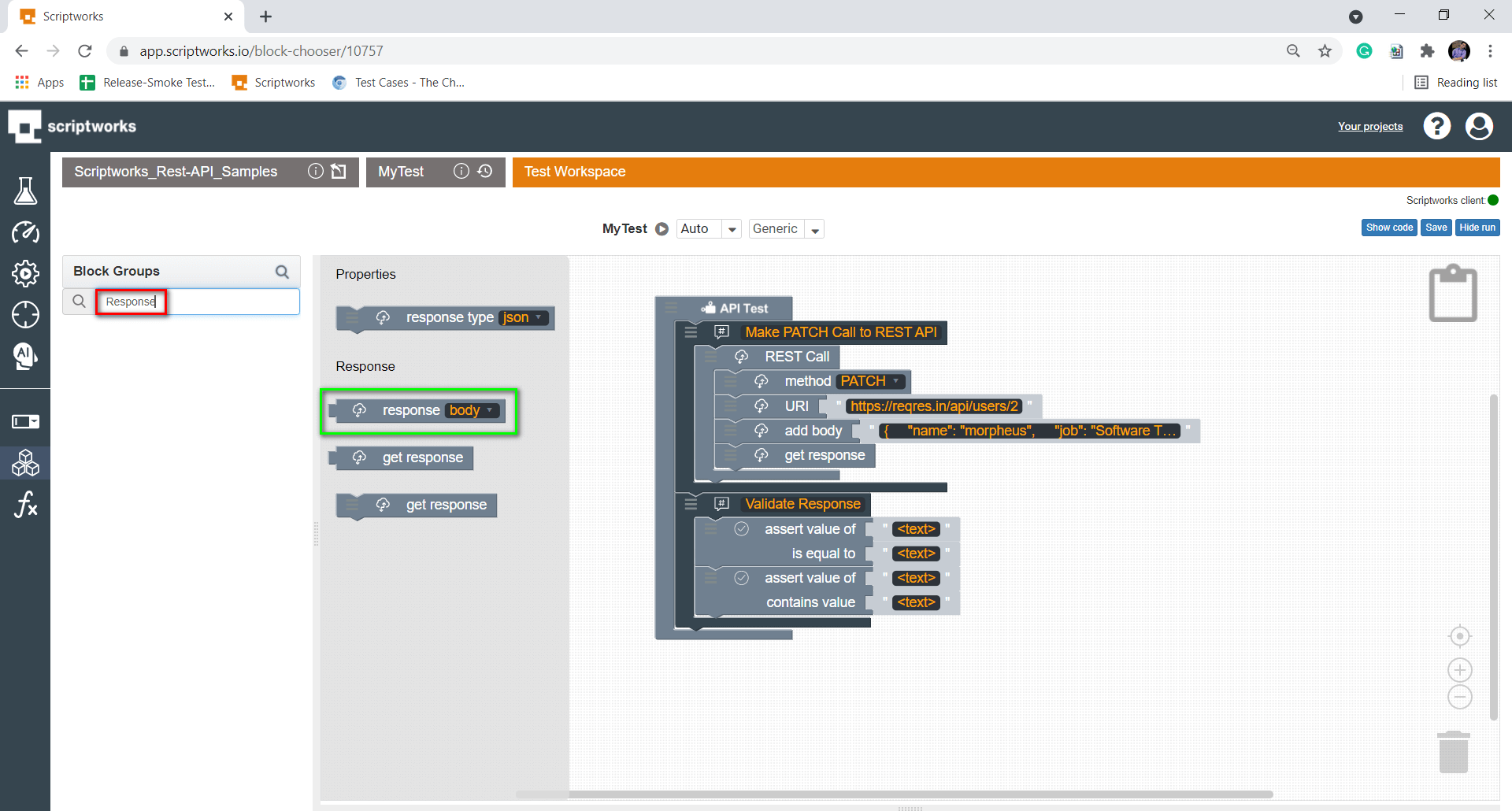search response body from search box present on left hand side panel