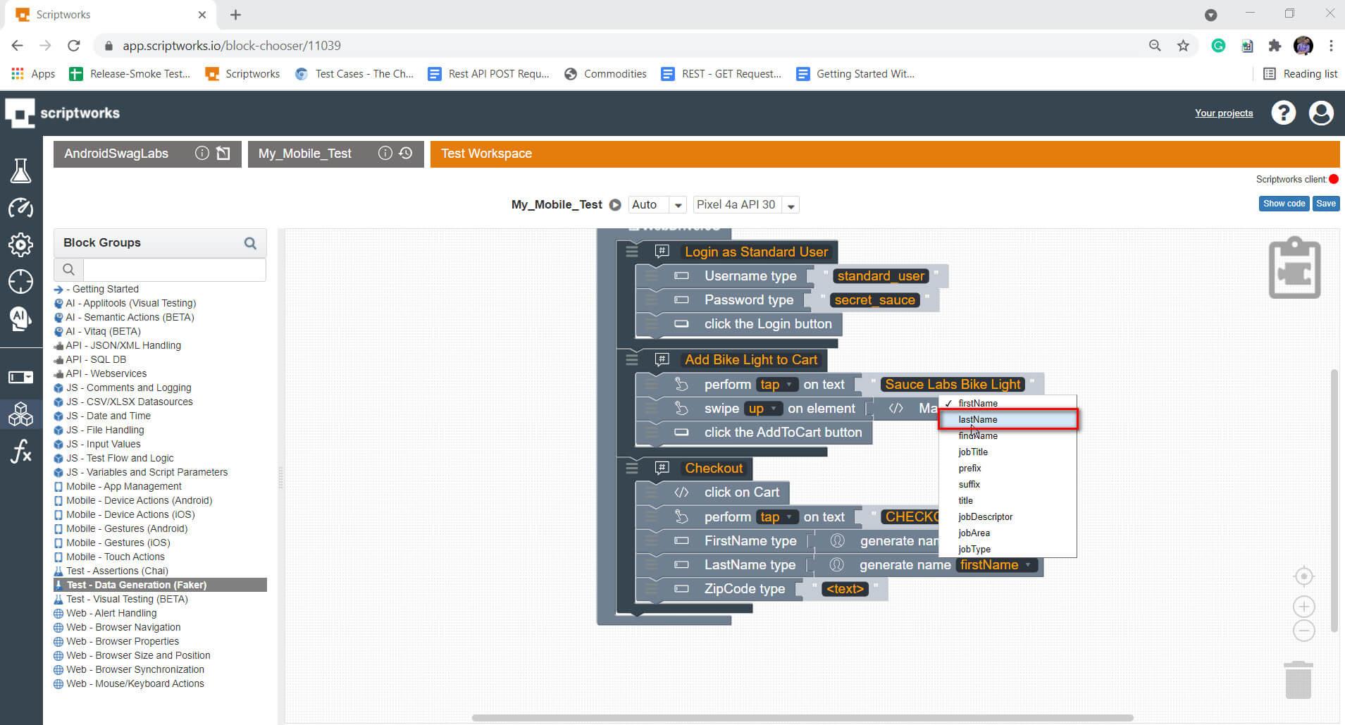 Screenshot for selecting lastname from faker