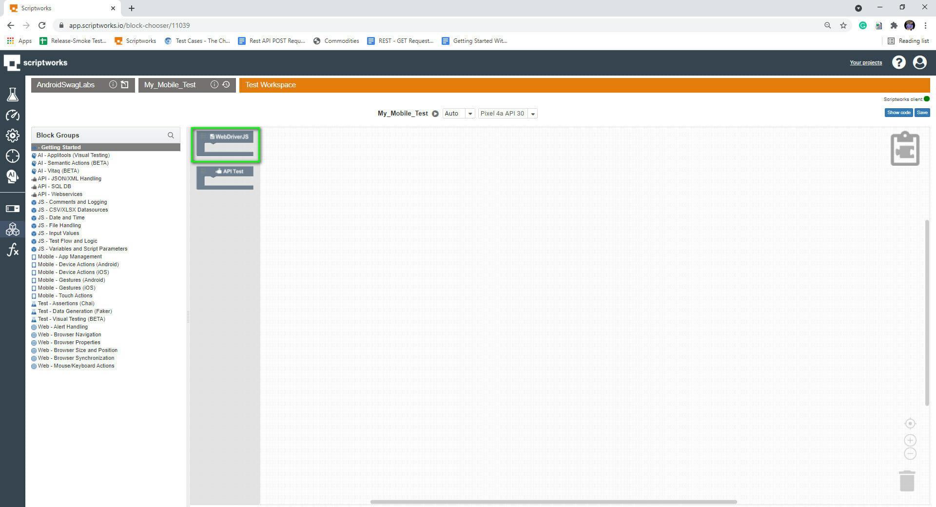 screenshot of selecting webdriverjs